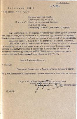 Шифровка 1-го Украинского фронта о вступлении на территорию Чехословакии, 7 мая 1945 г.