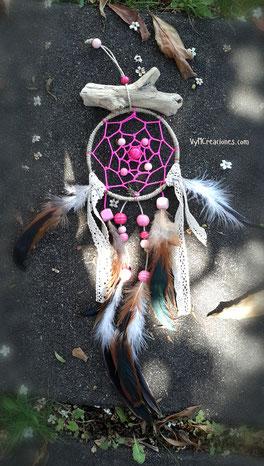 atrapasueños infantil, atrapasueños rosa, maderas del mar, madera de mar, atrapasueños, decoración hippie