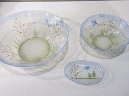 小浜恵子 「青い鳥 深鉢」、「豆皿」、「ボウル」