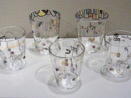 山田裕子 「音符のグラス」、「音符のラクガキグラス」