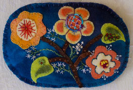 wool applique, embroidery stitches, hand-dyed wool