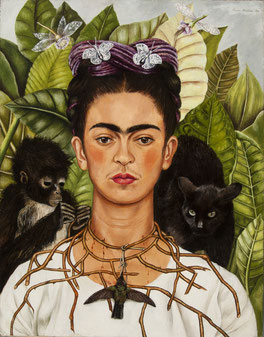 Schirn_Presse_Frida_Kahlo_Selbstbildnis_mit_Dornenhalsband_19 40.jpg Frida Kahlo, Selbstbildnis mit Dornenhalsband, 1940, Öl auf Leinwand, Collection of Harry Ransom Center, The University of Texas at Austin, Nickolas Muray Collection of Modern Mexican Ar
