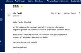 Feedback von Familie Ewald, Deutsch-Amerikanischer ARIZONA-Club Dresden, mit der Bitte, den Beitrag an unsere Club-Mitglieder weiterleiten zu dürfen. Herr Ewald ist Präsident des ARIZONA-Clubs.