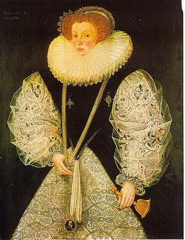 Mary Cornwallis, Gräfin von Bath, 1575 (CC BY 2.0, flickr, Abbildung von Lisby) Tudor Mode Elizabethanisch