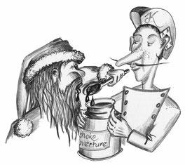Der Nikolaus löffelt Kuvertüre aus einer Dose, die ihm der Weihnachtsengel Alexis anbietet