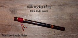 Irish Pocket Flute - Dark and Carved - Northern Lights Flutes
