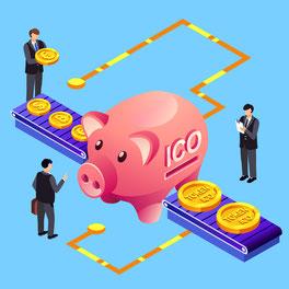 ICO unternhemen Geld Sammlen Sparschwein Geld
