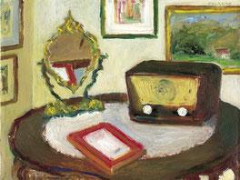 """Sergio Orlando, """"Natura morta con specchio"""", 2003, olio su tela, 30 x 40 cm"""
