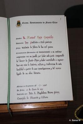 Libro oficial de Hijos Predilectos y Adoptivos