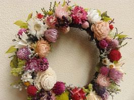 お花いっぱいリース ピンク