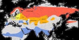 Karte zur Verbreitung des Blaukehlchen (Luscinia svecica)