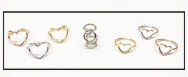 Anelli in argento cuore vuoto