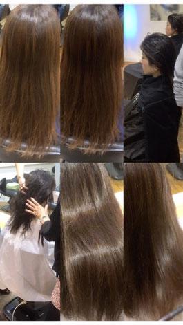髪の成分と同じ成分を入れ込み結合をしっかりさせることでボリュームやツヤが持続します。ストレートでもトリートメントでもない新感覚!!