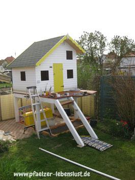 Aufbau Treppe selbst Kinderhaus Terasse  Stelzen