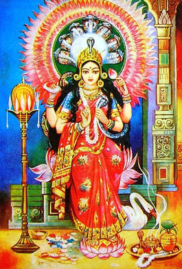Manasa :: Göttin der Schlangen              ::::: Für die Prävention und Heilung von Schlangenbissen sowie für Fruchtbarkeit und Wohlstand. betet man wie folgt :
