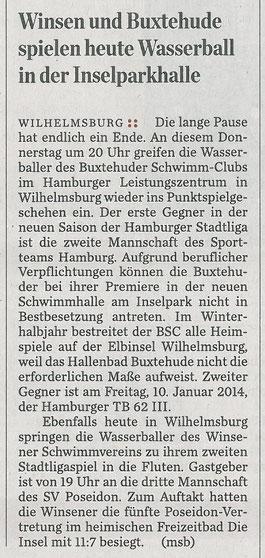 Winsen und Buxtehude spielen heute Wasserball in der Inselparkhalle. Hamburger Abendblatt vom 05.12.2013