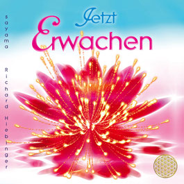 Das Titelbild der CD Ayurveda ~ Herzöffnung & Balance von Sayama Music Richard Hiebinger. Es zeigt einen goldenen Buddha vor einer wunderschönen rosa Blüte und die Blume des Lebens