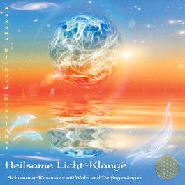 CD Titelbild Heilsame Licht~Klänge mit Wasser, Himmel in Blau, dazwischen rot-orange Farbtöne und die Blume des Lebens