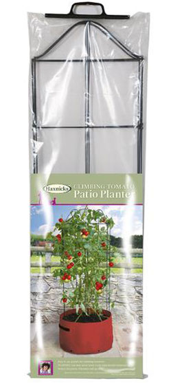 Ideal für Tomaten auf der Terrasse: Pflanzsack für rankende Tomaten mit Rankhilfe bei www.the-golden-rabbit.de