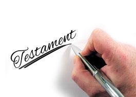 Testament geschrieben mit Stift