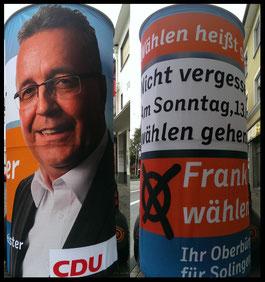 Wahlen 2015, CDU, Oberbürgermeister Solingen; Aussenwerbung ; mobile  Werbesäule ; Reklame ; Werbung ; mobile Außenwerbung ; refix GmbH ; advertising ; pillar ; column ; günstig; inovation ; einzigartig ; unique