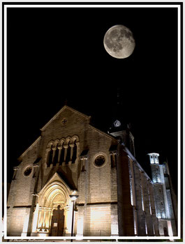 Pleine lune, Brignais, Eglise, Nuit, Centre Brignais, Ville de Brignais