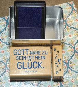 Stempelkissen blau, Schriftstempel, und Ornament- 10€