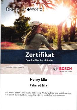 Bild: Urkunde Bosch E-rad 2015