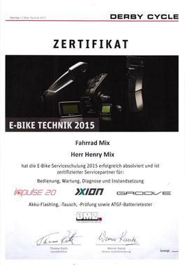 Bild: Urkunde für E-Bike Technik Derbycycle Focus Kalkhoff Systeme impulse 2.0, Xion und Groove Sowie BMZ