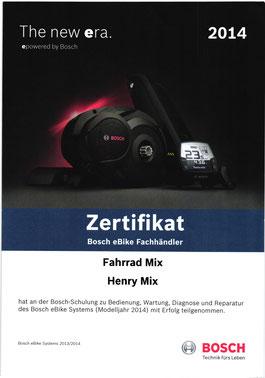 Bild Urkunde Bosch Schulung für 2014 Fahrrad Mix E-Rad service