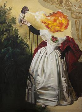 "Katharina Karner, ""Luck is a Lady"" (chirpy chirpy cheep cheep)   Öl, Acryl auf Leinwand, 140 x 105 cm, 2014"
