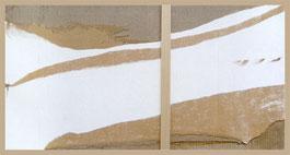 Envol blanc, collages par Annie Baratz artiste peintre plasticienne