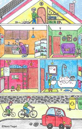 bunte Zeichnung Haus mit vielen Zimmern