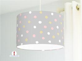Lampe für Babys und Mädchenzimmer mit rosa, beige und weißen Punkten auf Hellgrau aus Bio-Baumwollstoff - andere Farben möglich