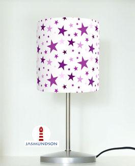 Tischlampe für Kinder und Mädchen mit Sternen in Lila aus Baumwollstoff - andere Farben möglich