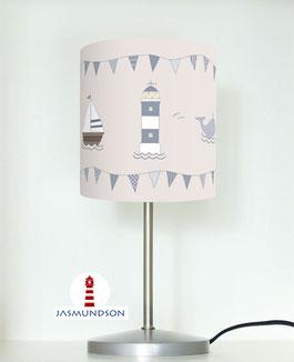 Tischlampe für Kinderzimmer und Babys in maritimem Design aus Baumwollstoff - andere Farben möglich