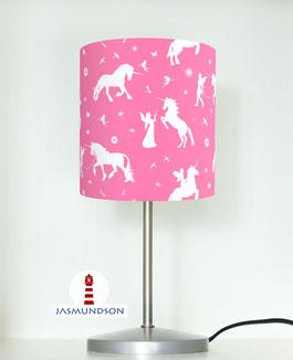 Nachttischlampe für Mädchen mit Einhörnern und Elfen in Rosa aus Baumwollstoff