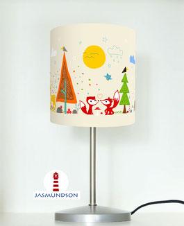 Tischlampe für Babys und Kinder mit Waldtieren in Beige aus Baumwolle