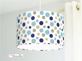 Lampe für Kinderzimmer und Babys mit großen Punkten in Blau und Beige aus Bio-Baumwolle