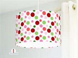 Lampenschirm für Kinderzimmer mit Punkten in Rot Grün und Rosa aus Baumwollstoff - alle Farben möglich