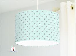 Lampe für Kinder und Babyzimmer mit grauen Punkten auf Mint aus Bio-Baumwollstoff - andere Farben möglich