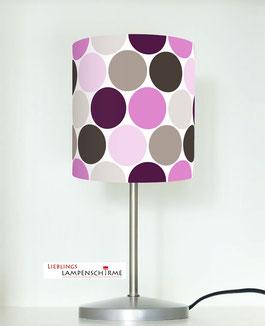 Nachttischlampe für Schlafzimmer und Mädchen mit großen Punkten in Lila und Taupe aus Baumwolle
