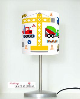 Tischlampe für Jungs und Kinderzimmer  mit Baustellenautos aus Baumwolle