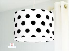Lampe fürs Kinderzimmer und Babys mit schwarzen Punkten auf Weiß aus Baumwolle