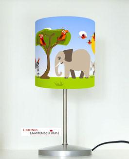 Tischlampe für Kinderzimmer mit Safari Tieren aus Baumwolle