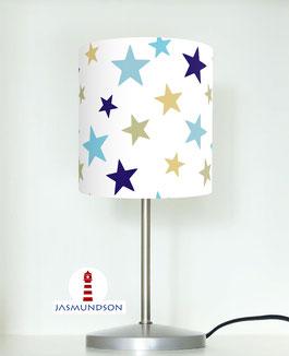 Nachttischlampe für Kinder mit Sternen in Blau und Grau aus Baumwolle