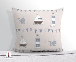 Kissen für Kinderzimmer und Babys in maritimem Design aus Baumwollstoff - andere Farben und Namen möglich