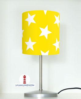 Tischlampe für Kinder und Babys mit großen Sternen in Gelb auf Baumwolle
