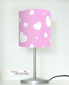 Nachttischlampe für Mädchen mit Herzen auf Rosa aus Baumwolle