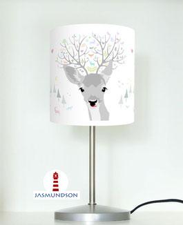 Tischlampe für Kinder und Schlafzimmer mit Rehhkopf aus Baumwollstoff - andere Farben möglich